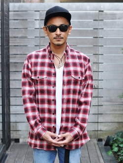 EPTM RED-Side Zip Flannel SHIRT