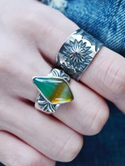 Sunset&Eagle  Picture Agate Ring