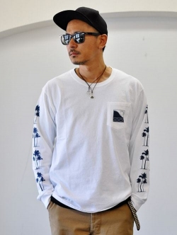 OFF SHORE PALM L/S TEE WHITE