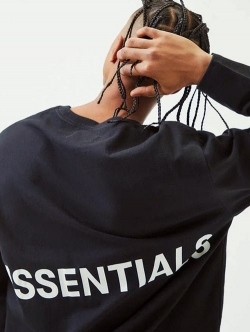 ESSENTIALS  BOX LOGO LS TEE BLACK