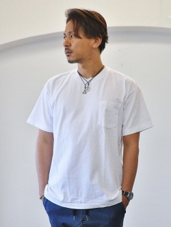 LA APPAREL 6.5oz heavy weight pocket tee White