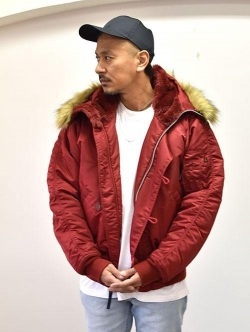 ALPHA N-2B JACKET NYLON H.TWL USA MODEL  C RED