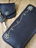 CROSSED ARROWS Studded LONG WALLET BLACK TYPE 2 ターコイズ