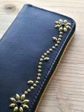 CROSSED ARROWS Studded LONG WALLET BLACK TYPE 2 ゴールド/ブラック