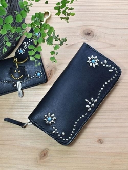 CROSSED ARROWS  Studded LONG WALLET BLACK TYPE 1 ターコイズ