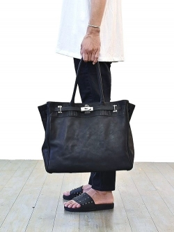 M.U.L Leather Black Tote Back Large