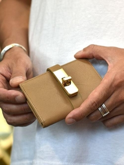M.U.L Leather SMALL WALLET BEIGE/GOLD