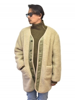 NORTH BY NORTHEAST WOOL BOA COAT Natural